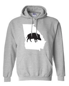 Pullover Hooded Sweatshirt Georgia Athletic Heather Wild Hog Vibrant Design High Quality Tight Knit Ring Spun Low Maintenance Cotton Printed With The Newest Available Color Transfer Technology