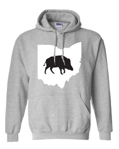 Pullover Hooded Sweatshirt Ohio Athletic Heather Wild Hog Vibrant Design High Quality Tight Knit Ring Spun Low Maintenance Cotton Printed With The Newest Available Color Transfer Technology