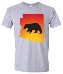 Short Sleeve T-Shirt Arizona Athletic Heather Black Bear Vibrant Design High Quality Tight Knit Ring Spun Low Maintenance Cotton Printed With The Newest Available Color Transfer Technology