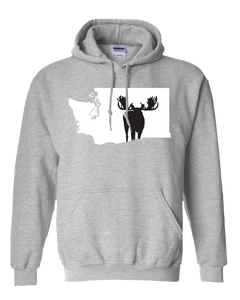 Pullover Hooded Sweatshirt Washington Athletic Heather Moose Vibrant Design High Quality Tight Knit Ring Spun Low Maintenance Cotton Printed With The Newest Available Color Transfer Technology
