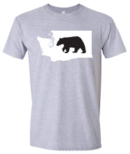 Load image into Gallery viewer, Short Sleeve T-Shirt Washington Athletic Heather Black Bear Vibrant Design High Quality Tight Knit Ring Spun Low Maintenance Cotton Printed With The Newest Available Color Transfer Technology