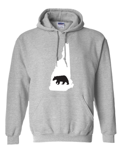 Pullover Hooded Sweatshirt New Hampshire Athletic Heather Black Bear Vibrant Design High Quality Tight Knit Ring Spun Low Maintenance Cotton Printed With The Newest Available Color Transfer Technology