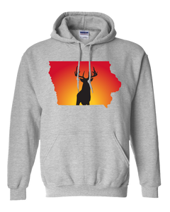 Pullover Hooded Sweatshirt Iowa Athletic Heather Whitetail Deer Vibrant Design High Quality Tight Knit Ring Spun Low Maintenance Cotton Printed With The Newest Available Color Transfer Technology
