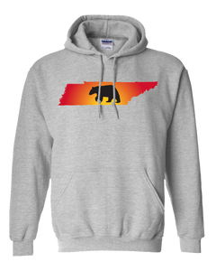 Pullover Hooded Sweatshirt Tennessee Athletic Heather Black Bear Vibrant Design High Quality Tight Knit Ring Spun Low Maintenance Cotton Printed With The Newest Available Color Transfer Technology