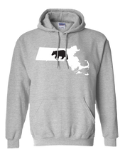 Load image into Gallery viewer, Pullover Hooded Sweatshirt Massachusetts Athletic Heather Black Bear Vibrant Design High Quality Tight Knit Ring Spun Low Maintenance Cotton Printed With The Newest Available Color Transfer Technology