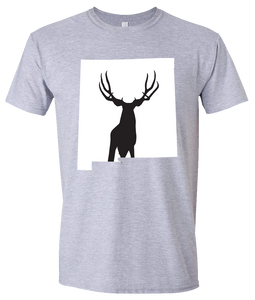 Short Sleeve T-Shirt New Mexico Athletic Heather Mule Deer Vibrant Design High Quality Tight Knit Ring Spun Low Maintenance Cotton Printed With The Newest Available Color Transfer Technology