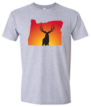 Load image into Gallery viewer, Short Sleeve T-Shirt Oregon Athletic Heather Mule Deer Vibrant Design High Quality Tight Knit Ring Spun Low Maintenance Cotton Printed With The Newest Available Color Transfer Technology
