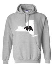 Load image into Gallery viewer, Pullover Hooded Sweatshirt New York Athletic Heather Black Bear Vibrant Design High Quality Tight Knit Ring Spun Low Maintenance Cotton Printed With The Newest Available Color Transfer Technology