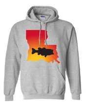 Load image into Gallery viewer, Pullover Hooded Sweatshirt Louisiana Athletic Heather Large Mouth Bass Vibrant Design High Quality Tight Knit Ring Spun Low Maintenance Cotton Printed With The Newest Available Color Transfer Technology