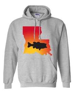 Pullover Hooded Sweatshirt Louisiana Athletic Heather Large Mouth Bass Vibrant Design High Quality Tight Knit Ring Spun Low Maintenance Cotton Printed With The Newest Available Color Transfer Technology