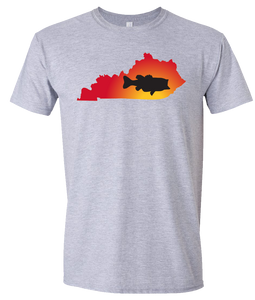 Short Sleeve T-Shirt Kentucky Athletic Heather Large Mouth Bass Vibrant Design High Quality Tight Knit Ring Spun Low Maintenance Cotton Printed With The Newest Available Color Transfer Technology