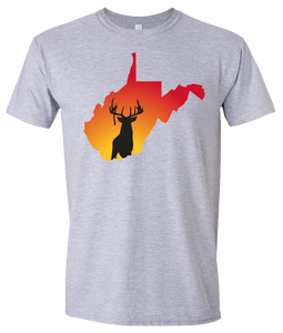 Short Sleeve T-Shirt West Virginia Athletic Heather Whitetail Deer Vibrant Design High Quality Tight Knit Ring Spun Low Maintenance Cotton Printed With The Newest Available Color Transfer Technology