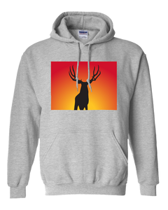 Pullover Hooded Sweatshirt Colorado Athletic Heather Mule Deer Vibrant Design High Quality Tight Knit Ring Spun Low Maintenance Cotton Printed With The Newest Available Color Transfer Technology