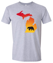 Load image into Gallery viewer, Short Sleeve T-Shirt Michigan Athletic Heather Black Bear Vibrant Design High Quality Tight Knit Ring Spun Low Maintenance Cotton Printed With The Newest Available Color Transfer Technology