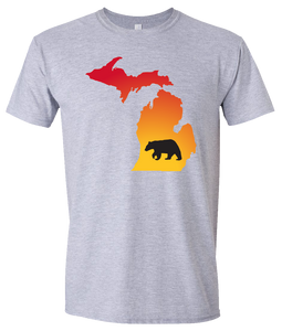 Short Sleeve T-Shirt Michigan Athletic Heather Black Bear Vibrant Design High Quality Tight Knit Ring Spun Low Maintenance Cotton Printed With The Newest Available Color Transfer Technology