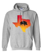Load image into Gallery viewer, Pullover Hooded Sweatshirt Texas Athletic Heather Wild Hog Vibrant Design High Quality Tight Knit Ring Spun Low Maintenance Cotton Printed With The Newest Available Color Transfer Technology