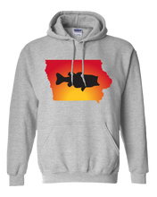 Load image into Gallery viewer, Pullover Hooded Sweatshirt Iowa Athletic Heather Large Mouth Bass Vibrant Design High Quality Tight Knit Ring Spun Low Maintenance Cotton Printed With The Newest Available Color Transfer Technology