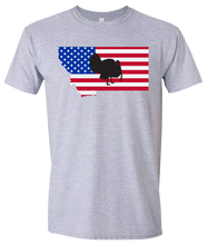 Load image into Gallery viewer, Short Sleeve T-Shirt Montana Athletic Heather Turkey Vibrant Design High Quality Tight Knit Ring Spun Low Maintenance Cotton Printed With The Newest Available Color Transfer Technology