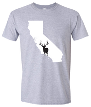 Load image into Gallery viewer, Short Sleeve T-Shirt California Athletic Heather Elk Vibrant Design High Quality Tight Knit Ring Spun Low Maintenance Cotton Printed With The Newest Available Color Transfer Technology