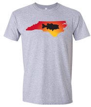 Load image into Gallery viewer, Short Sleeve T-Shirt North Carolina Athletic Heather Large Mouth Bass Vibrant Design High Quality Tight Knit Ring Spun Low Maintenance Cotton Printed With The Newest Available Color Transfer Technology