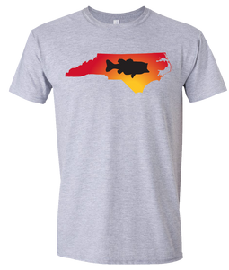 Short Sleeve T-Shirt North Carolina Athletic Heather Large Mouth Bass Vibrant Design High Quality Tight Knit Ring Spun Low Maintenance Cotton Printed With The Newest Available Color Transfer Technology