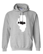 Load image into Gallery viewer, Pullover Hooded Sweatshirt Illinois Athletic Heather Large Mouth Bass Vibrant Design High Quality Tight Knit Ring Spun Low Maintenance Cotton Printed With The Newest Available Color Transfer Technology