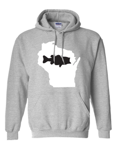 Pullover Hooded Sweatshirt Wisconsin Athletic Heather Large Mouth Bass Vibrant Design High Quality Tight Knit Ring Spun Low Maintenance Cotton Printed With The Newest Available Color Transfer Technology