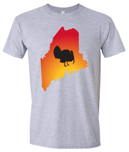 Short Sleeve T-Shirt Maine Athletic Heather Turkey Vibrant Design High Quality Tight Knit Ring Spun Low Maintenance Cotton Printed With The Newest Available Color Transfer Technology