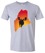 Load image into Gallery viewer, Short Sleeve T-Shirt Maine Athletic Heather Moose Vibrant Design High Quality Tight Knit Ring Spun Low Maintenance Cotton Printed With The Newest Available Color Transfer Technology