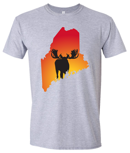Short Sleeve T-Shirt Maine Athletic Heather Moose Vibrant Design High Quality Tight Knit Ring Spun Low Maintenance Cotton Printed With The Newest Available Color Transfer Technology