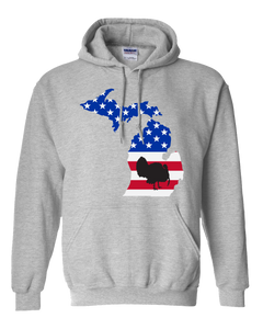 Pullover Hooded Sweatshirt Michigan Athletic Heather Turkey Vibrant Design High Quality Tight Knit Ring Spun Low Maintenance Cotton Printed With The Newest Available Color Transfer Technology