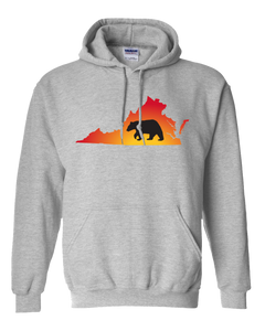 Pullover Hooded Sweatshirt Virginia Athletic Heather Black Bear Vibrant Design High Quality Tight Knit Ring Spun Low Maintenance Cotton Printed With The Newest Available Color Transfer Technology