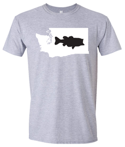 Short Sleeve T-Shirt Washington Athletic Heather Large Mouth Bass Vibrant Design High Quality Tight Knit Ring Spun Low Maintenance Cotton Printed With The Newest Available Color Transfer Technology