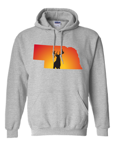 Pullover Hooded Sweatshirt Nebraska Athletic Heather Whitetail Deer Vibrant Design High Quality Tight Knit Ring Spun Low Maintenance Cotton Printed With The Newest Available Color Transfer Technology