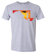 Load image into Gallery viewer, Short Sleeve T-Shirt Maryland Athletic Heather Large Mouth Bass Vibrant Design High Quality Tight Knit Ring Spun Low Maintenance Cotton Printed With The Newest Available Color Transfer Technology