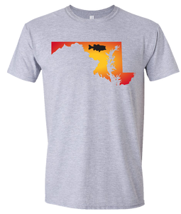 Short Sleeve T-Shirt Maryland Athletic Heather Large Mouth Bass Vibrant Design High Quality Tight Knit Ring Spun Low Maintenance Cotton Printed With The Newest Available Color Transfer Technology