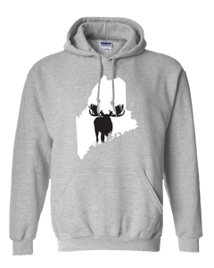 Pullover Hooded Sweatshirt Maine Athletic Heather Moose Vibrant Design High Quality Tight Knit Ring Spun Low Maintenance Cotton Printed With The Newest Available Color Transfer Technology