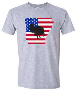 Short Sleeve T-Shirt Arkansas Athletic Heather Turkey Vibrant Design High Quality Tight Knit Ring Spun Low Maintenance Cotton Printed With The Newest Available Color Transfer Technology