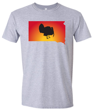 Load image into Gallery viewer, Short Sleeve T-Shirt South Dakota Athletic Heather Turkey Vibrant Design High Quality Tight Knit Ring Spun Low Maintenance Cotton Printed With The Newest Available Color Transfer Technology