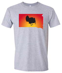 Short Sleeve T-Shirt South Dakota Athletic Heather Turkey Vibrant Design High Quality Tight Knit Ring Spun Low Maintenance Cotton Printed With The Newest Available Color Transfer Technology