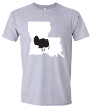 Load image into Gallery viewer, Short Sleeve T-Shirt Louisiana Athletic Heather Turkey Vibrant Design High Quality Tight Knit Ring Spun Low Maintenance Cotton Printed With The Newest Available Color Transfer Technology