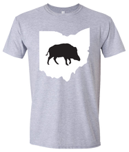 Load image into Gallery viewer, Short Sleeve T-Shirt Ohio Athletic Heather Wild Hog Vibrant Design High Quality Tight Knit Ring Spun Low Maintenance Cotton Printed With The Newest Available Color Transfer Technology