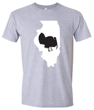 Load image into Gallery viewer, Short Sleeve T-Shirt Illinois Athletic Heather Turkey Vibrant Design High Quality Tight Knit Ring Spun Low Maintenance Cotton Printed With The Newest Available Color Transfer Technology
