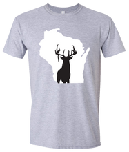 Load image into Gallery viewer, Short Sleeve T-Shirt Wisconsin Athletic Heather Whitetail Deer Vibrant Design High Quality Tight Knit Ring Spun Low Maintenance Cotton Printed With The Newest Available Color Transfer Technology