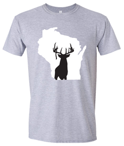 Short Sleeve T-Shirt Wisconsin Athletic Heather Whitetail Deer Vibrant Design High Quality Tight Knit Ring Spun Low Maintenance Cotton Printed With The Newest Available Color Transfer Technology