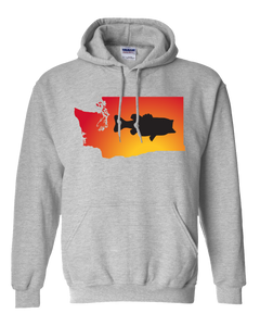 Pullover Hooded Sweatshirt Washington Athletic Heather Large Mouth Bass Vibrant Design High Quality Tight Knit Ring Spun Low Maintenance Cotton Printed With The Newest Available Color Transfer Technology