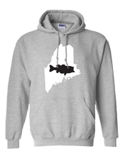 Load image into Gallery viewer, Pullover Hooded Sweatshirt Maine Athletic Heather Large Mouth Bass Vibrant Design High Quality Tight Knit Ring Spun Low Maintenance Cotton Printed With The Newest Available Color Transfer Technology