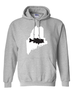 Pullover Hooded Sweatshirt Maine Athletic Heather Large Mouth Bass Vibrant Design High Quality Tight Knit Ring Spun Low Maintenance Cotton Printed With The Newest Available Color Transfer Technology