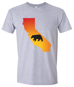 Short Sleeve T-Shirt California Athletic Heather Black Bear Vibrant Design High Quality Tight Knit Ring Spun Low Maintenance Cotton Printed With The Newest Available Color Transfer Technology