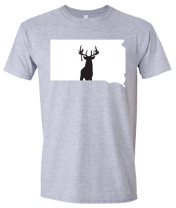 Short Sleeve T-Shirt South Dakota Athletic Heather Whitetail Deer Vibrant Design High Quality Tight Knit Ring Spun Low Maintenance Cotton Printed With The Newest Available Color Transfer Technology